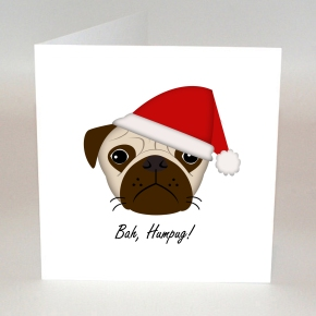 Bah humbug, pug, dog, christmas card, handmade